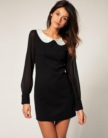 Платье кружевное черное купить, Платье с длинным рукавом фото